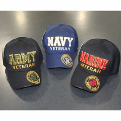Wholesale Licensed US Military Hats Caps - MI-262 Military Big Letter Cap [Veteran] (Color Seal On Bill)