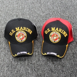Wholesale Licensed US Military Hats Caps - MI-362a U.S Marine [Circle Patch]- Gold Line Edge Bill