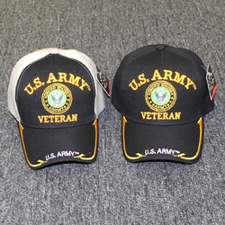 Wholesale Licensed US Military Hats Caps - MI-628V US Army [Circle EMB] [Veteran] - Gold Line Edge Bill