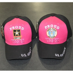 Wholesale Licensed US Military Hats Caps - MR-308 Army Air Force Wife (H.Pink Black)