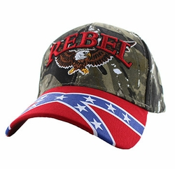 Clothing Apparel Headwear Bulk - Rebel Flag Eagle Velcro Cap (Hunting Camo & Red) - VM401-03