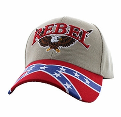 Wholesale Men's Women's Adult Hats and Caps in Bulk - Rebel Flag Eagle Velcro Cap (Khaki & Red) - VM401