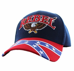 Los Angeles, Hats, Caps, Apparel, Clothing, Store - Rebel Flag Eagle Velcro Cap (Navy Red) - VM401
