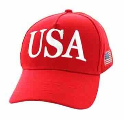 Wholesale Clothing, USA Caps Bulk Suppliers - VM690-02 USA Cotton Velcro Cap (Solid Red)