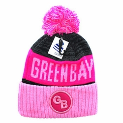 Wholesale Men's Hats Caps Suppliers - WB073-55 Green Bay Pom Pom Beanie (Hot Pink Light Pink)