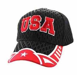 Wholesale USA Embroidered Logo Fashion Baseball Caps Hats - Big Mesh Velcro Cap (Black Red) - VM421-163
