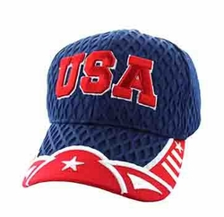 Wholesale USA Embroidered Fashion Baseball Caps Hats - USA Big Mesh Velcro Cap (Navy Red) - VM421-162