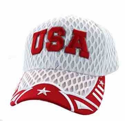 Wholesale USA Embroidered Fashion Baseball Caps Hats - USA Big Mesh Velcro Cap (White Red) - VM421-164