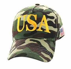 Clothing Apparel Headwear Wholesale Bulk - USA Cotton Velcro Cap (Solid Hunting Camo) - VM690-05