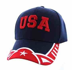Clothing Apparel Headwear Wholesale Bulk - USA Country Velcro Cap (Navy & Red) - VM421-95