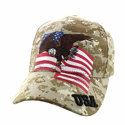 Clothing Apparel Headwear Wholesale Bulk Military - USA Eagle Cotton Velcro Cap (Digital Camo) - VM151-05