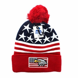 Wholesale Products - Clothing Apparel Headwear Wholesale Bulk - USA Eagle Flag Pom Pom Beanie (Navy & Red) - WB079-01