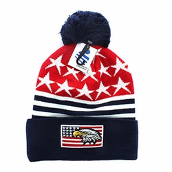 Clothing Apparel Headwear Wholesale Bulk - USA Eagle Flag Pom Pom Beanie (Red & Navy) - WB079-02