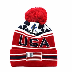 Clothing Apparel Headwear Wholesale Bulk - USA Flag Pom Pom Beanie (Navy & Red) - WB082-01