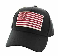 Clothing Apparel Headwear Wholesale Bulk - USA Flag Velcro Cap (Black) - VM367-15