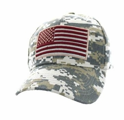 Wholesale Men's Military Patriotic Baseball Hats Caps Bulk - USA Flag Velcro Cap (Digital Camo) - VM367-12