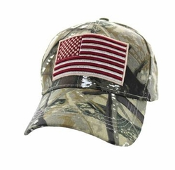 Clothing Apparel Headwear Wholesale Bulk - USA Flag Velcro Cap (Hunting Camo) - VM367-14