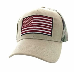 Wholesale Men's Military Patriotic Baseball Hats Caps Bulk - USA Flag Velcro Cap (Khaki & Hunting Camo) - VM367-13