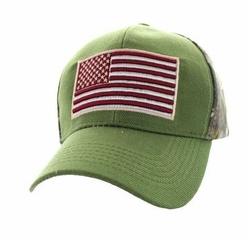 Clothing Apparel Headwear Wholesale Bulk - USA Flag Velcro Cap (Olive & Hunting Camo) - VM367-11
