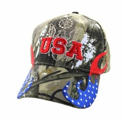 Clothing Apparel Headwear Wholesale Bulk - USA Flame Velcro Cap (Solid Hunting Camo) - VM078-06