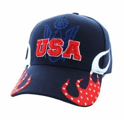 Wholesale Bulk Men's Embroidered Hats Suppliers - USA Flame Velcro Cap (Solid Navy) - VM078-01