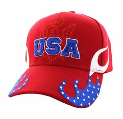 Clothing Apparel Headwear Wholesale Bulk Military - USA Flame Velcro Cap (Solid Red) - VM078-02
