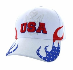 Clothing Apparel Headwear Wholesale Bulk - USA Flame Velcro Cap (Solid White) - VM078-03