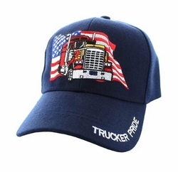 Clothing Apparel Headwear Wholesale Bulk - USA Truck Velcro Cap (Solid Navy) - VM304-04