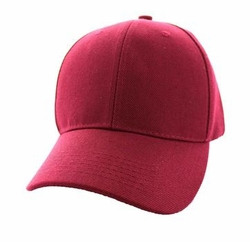 Wholesale Men's Women's Adult Blank Hats and Caps in Bulk For Embroidery - Baseball Velcro Cap (Solid Burgundy) - VP019
