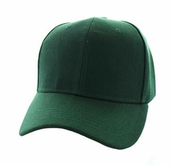 Wholesale Men's Women's Adult Blank Hats and Caps in Bulk For Embroidery - Baseball Velcro Cap (Solid Dark Green) - VP019