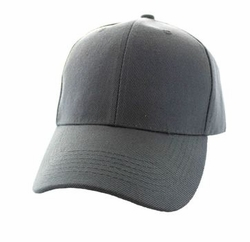 Wholesale Men's Women's Adult Blank Hats and Caps in Bulk For Embroidery - Baseball Velcro Cap (Solid Dark Grey) - VP019