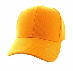 Wholesale Men's Women's Adult Blank Hats and Caps in Bulk For Embroidery - Baseball Velcro Cap (Solid Gold) - VP019