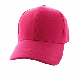 Wholesale Men's Women's Adult Blank Hats and Caps in Bulk For Embroidery - Baseball Velcro Cap (Solid Hot Pink) - VP019