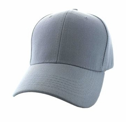 Wholesale Men's Women's Adult Blank Hats and Caps in Bulk For Embroidery - Baseball Velcro Cap (Solid Light Grey) - VP019