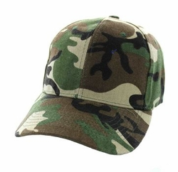 Wholesale Men's Women's Adult Blank Hats and Caps in Bulk For Embroidery - Baseball Velcro Cap (Solid Military Camo) - VP019