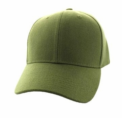Wholesale Men's Women's Adult Blank Hats and Caps in Bulk For Embroidery - Baseball Velcro Cap (Solid Olive) - VP019