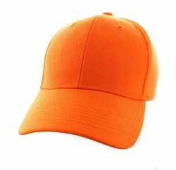 Wholesale Men's Women's Adult Blank Hats and Caps in Bulk For Embroidery - Baseball Velcro Cap (Solid Orange) - VP019