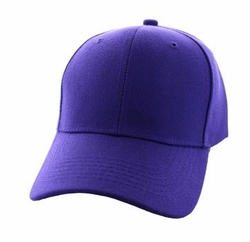 Wholesale Men's Women's Adult Blank Hats and Caps in Bulk For Embroidery - Baseball Velcro Cap (Solid Purple) - VP019