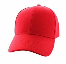 Wholesale Men's Women's Adult Blank Hats and Caps in Bulk For Embroidery - Baseball Velcro Cap (Solid Red) - VP019