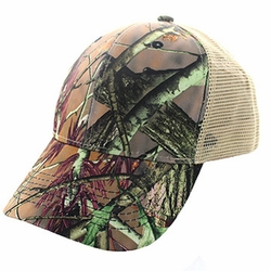 Wholesale Men's Women's Adult Blank Real Tree Hats and Caps in Bulk For Embroidery - Blank Mesh Back Trucker Velcro Cap #5 (Hunting Camo & Khaki) - VP022