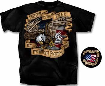 Clothing Apparel T-Shirts Hats Wholesale Bulk Military - Freedom Is Not Free Eagle T-Shirt