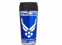 TUMBLER - Wholesale Military Merchandise Patriotic Veterans Bulk Suppliers - AIR FORCE METALLIC TUMBLER