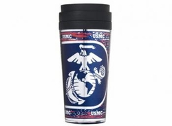 TUMBLER - Wholesale Military Merchandise Patriotic Veterans Bulk Suppliers - MARINE METALLIC TUMBLER