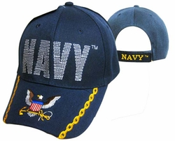 Wholesale Military Hats and Caps Suppliers - CAP596C NAVY Navy logo on Bill Cap