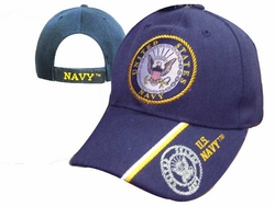 Wholesale Military Hats and Caps Suppliers - CAP602L NAVY Emblem Shadow on Bill Cap