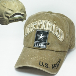 Army Apparel Military Wholesale T Shirts Embroidered Logo Baseball Hats Caps Bulk Suppliers - CM-1042 Army Star Retired