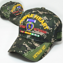 Purple Heart Apparel Military Wholesale T Shirts Embroidered Logo Baseball Hats Caps Bulk Suppliers - MM-148 Vietnam Veteran Purple Heart