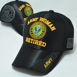 Army Apparel Military Wholesale T Shirts Embroidered Logo Baseball Hats Caps Bulk Suppliers - MM-159 Army Woman Retired