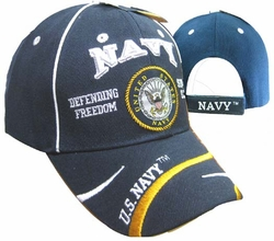 Clothing Caps Hats Wholesale Bulk Supplier Clothing Apparel Military - CAP596F NAVY Emblem Defend Freedom Cap