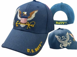 Wholesale Clothing, Navy Military Apparel T Shirts Wholesale Hats Caps Embroidered Baseball Logo Supplier Bulk - CAP602S Navy Eagle Anchor